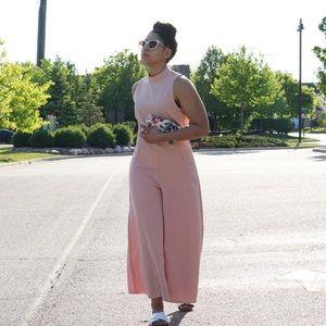 Pants - Pink Wide Leg Jumpsuit
